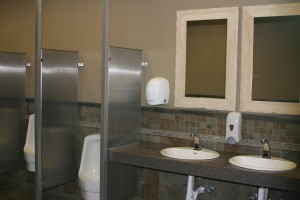Fairplex restroom sinks and stalls