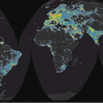 World map of skyglow