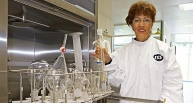 ISS employee cleaning laboratory equipment