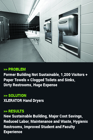 Problem: Former Building Not Sustainable, 1,200 Visitors + Paper Towels = Clogged Toilets and Sinks, Dirty Restrooms, Huge Expense. Solution: XLERATOR Hand Dryers