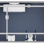 Diagram of accessible toilet, changing bench and hoist
