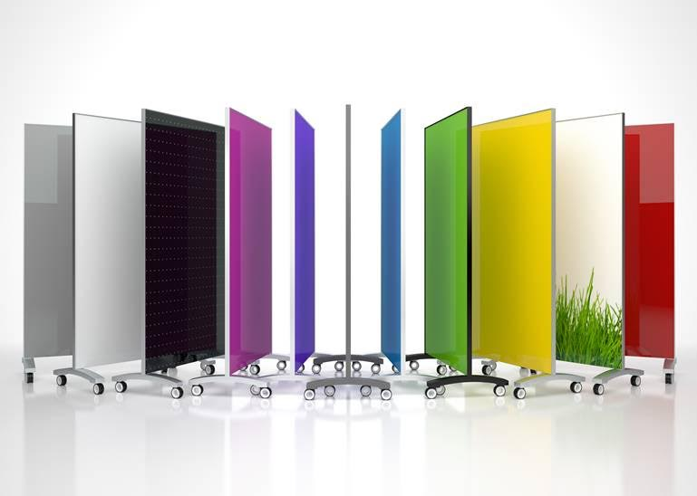 Glass whiteboards in various colors