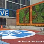 2 green walls by office plaza