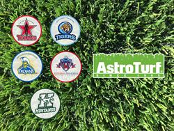Closeup of AstroTurf with school logos