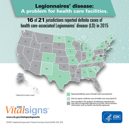 CDC Map of Legionnaires' Disease risk