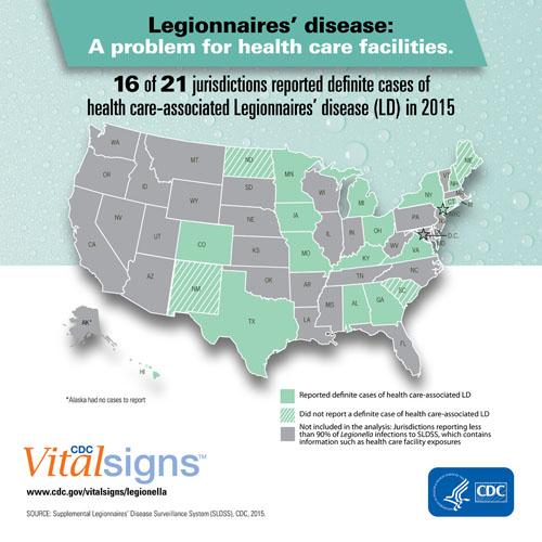 CDC Map of Legionnaires' Disease risk