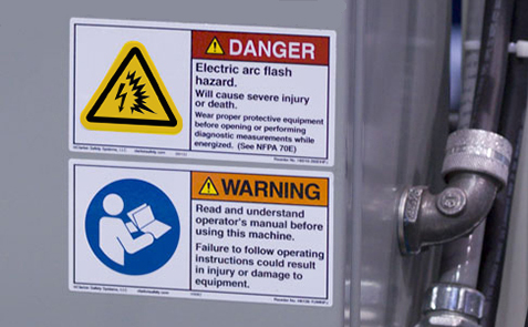 Clarion's arc flash safety label