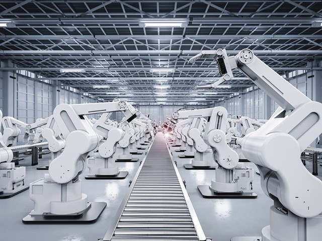 White machines in a big room