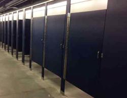 Dark blue restroom partitions in WVU stadium
