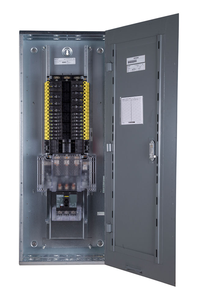 View of panelboard with Fingersafe barrier