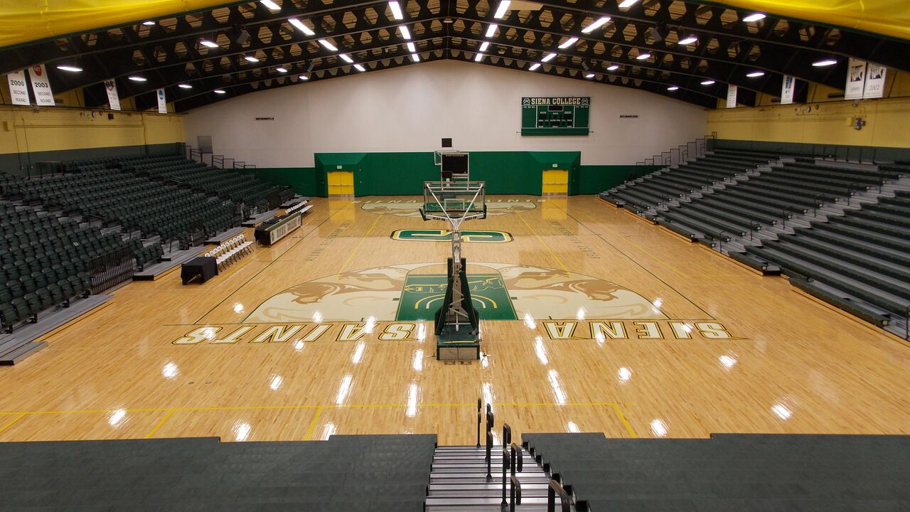 Hardwood sports flooring in a gym