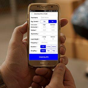 NIOSH safe lifting app on a smartphone