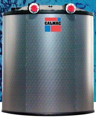 Large round metal ice storage tank