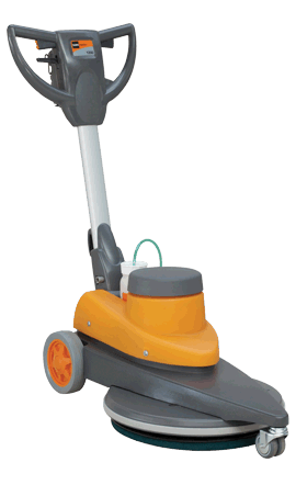 Orange-and-grey disc machine for burnishing hard floors