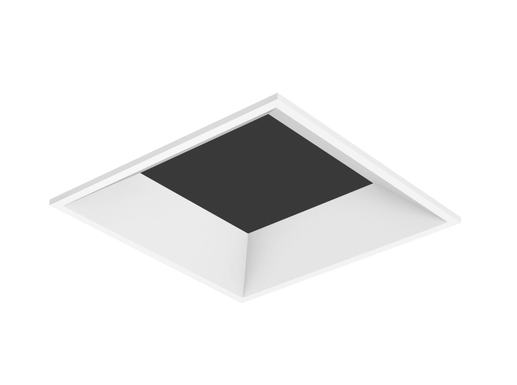 Square, beveled, flangeless white LED downlight trim
