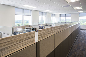 Made right down the street from HON HQ in Muscatine, Iowa, Plains tile glass adds privacy in an open environment without blocking natural light.