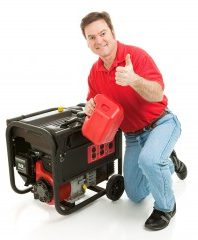 Man with a black and red power generator