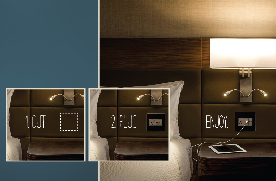 Photo sequence to add power unit to headboard