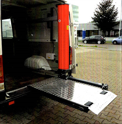 Platform lift attached to back of truck