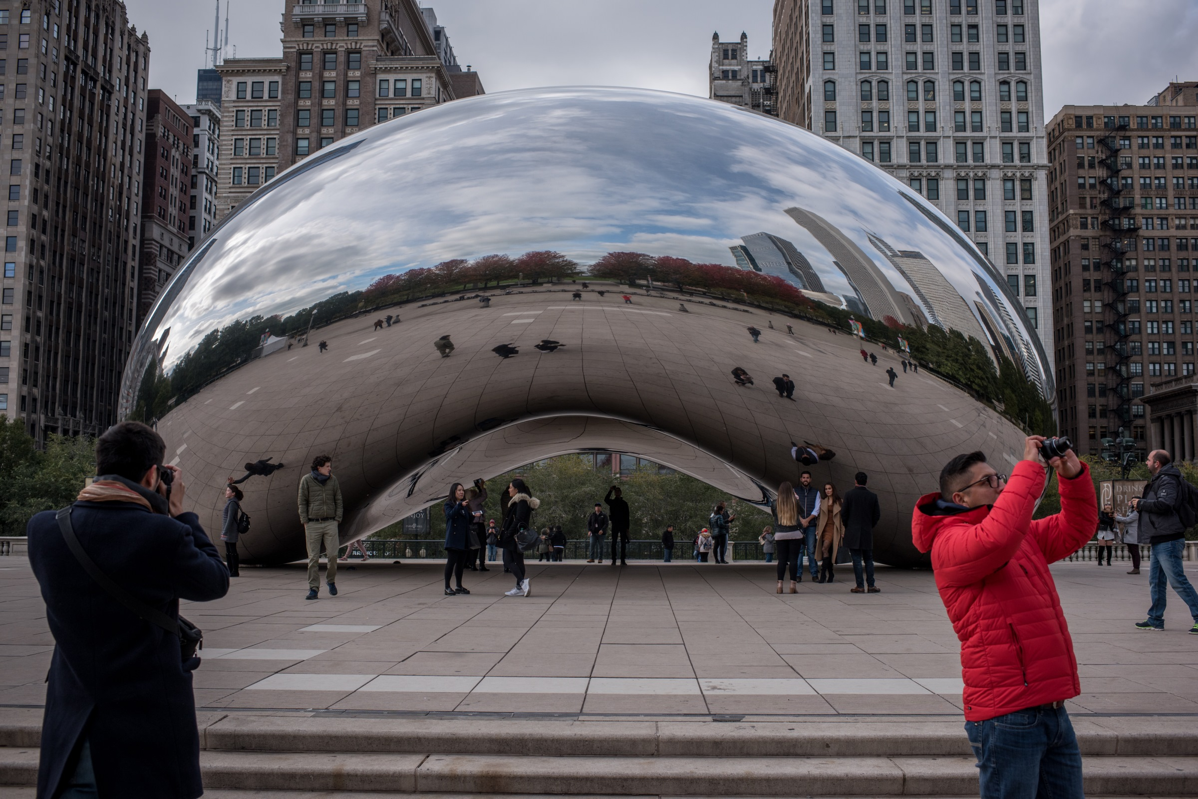 """""""Cloud Gate,"""" or """"the Bean,"""" sculpture in Chicago"""