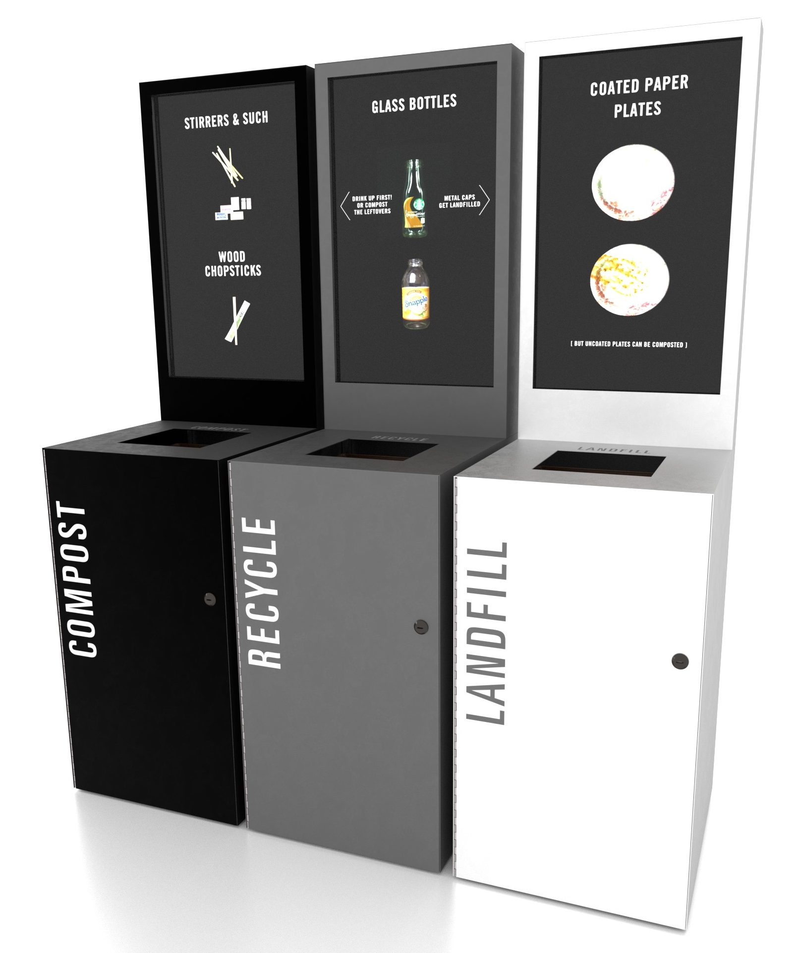 Black, grey and white waste bins with digital instructions