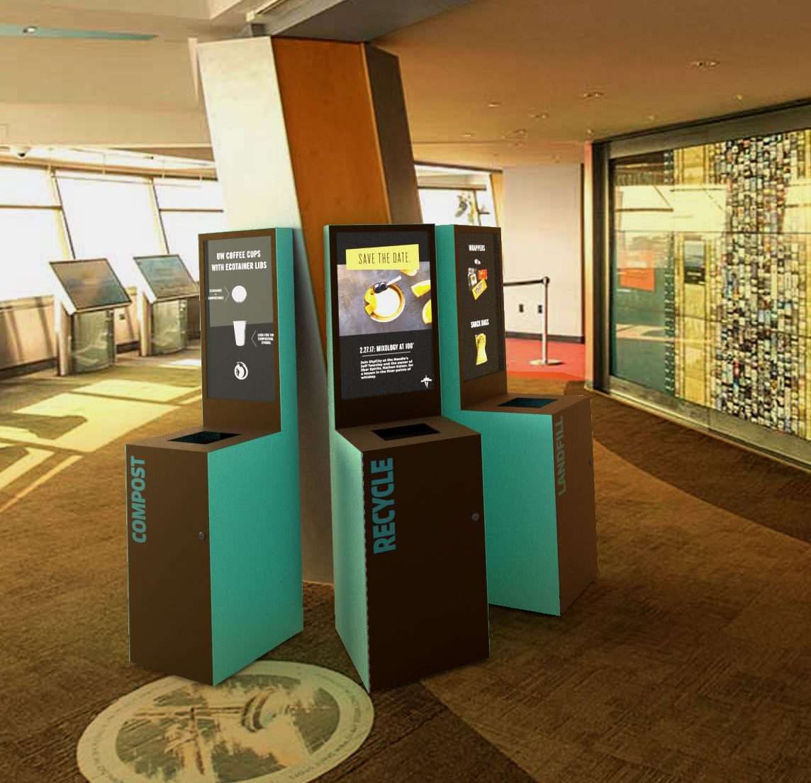 Brown and aqua smart waste bins in Space Needle