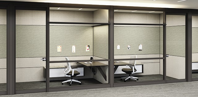 Teknion's Altos Landscape wall collection and height-adjustable desk