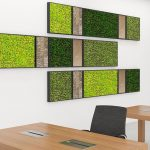 Three long wall frames with moss and stone