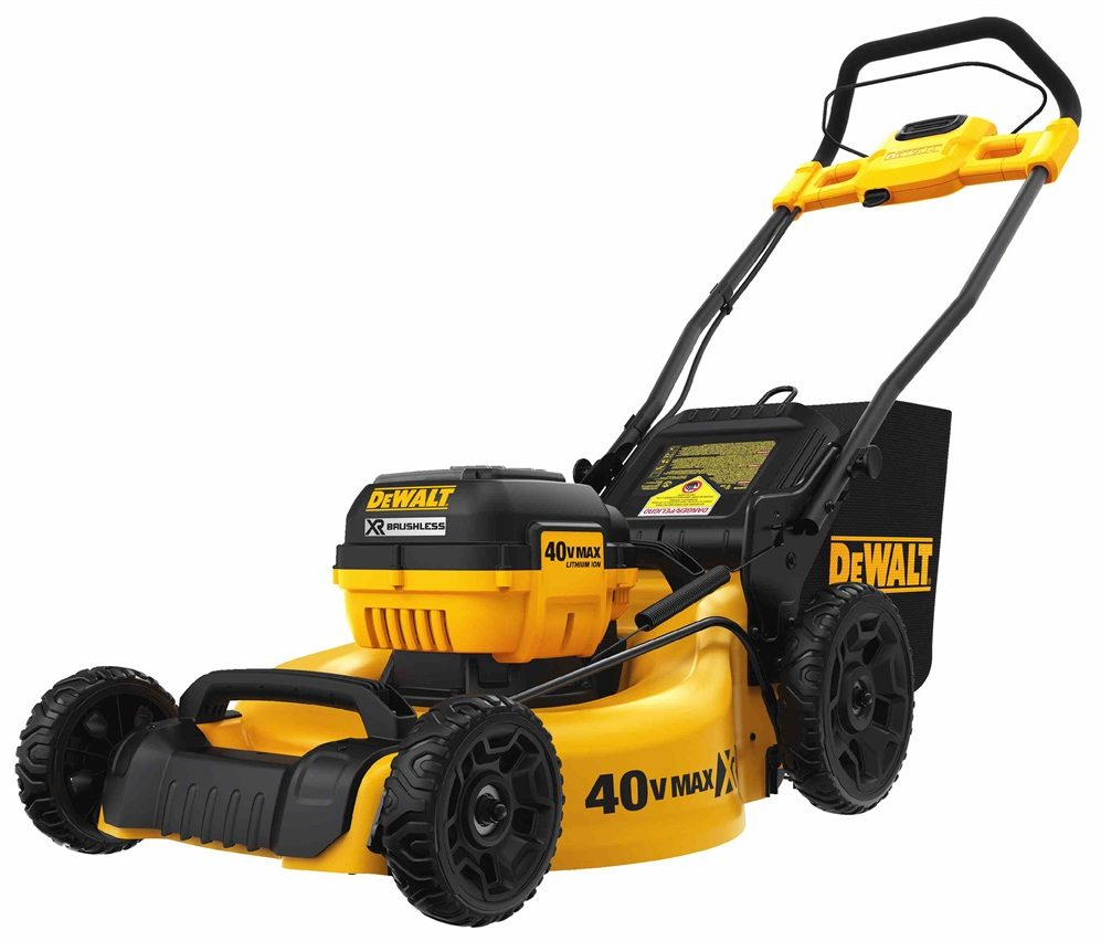 3/4 view of gold-and-black push mower