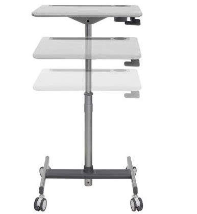 tall mobile stand-alone desk with flat surface
