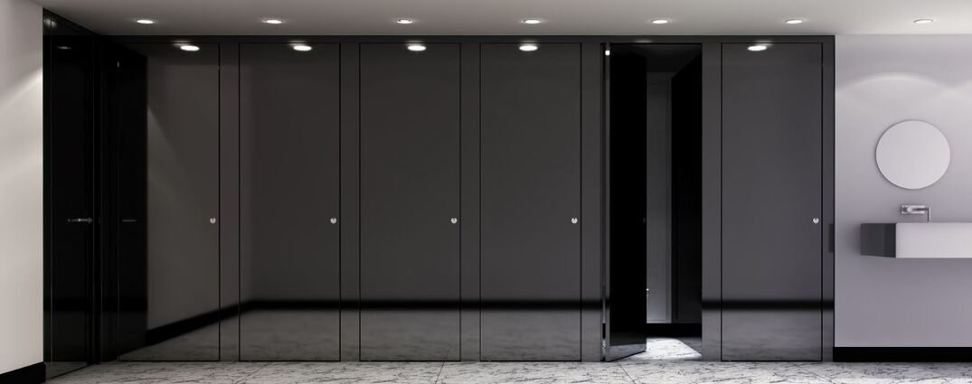 Dark floor-to-ceiling glass toilet partitions