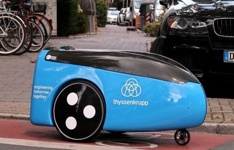 Small, light blue delivery robot