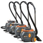 Four round grey-and-orange vacuums