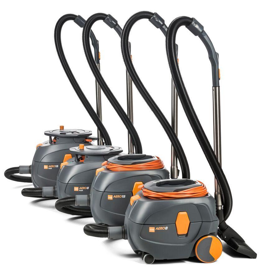 Four round grey-and-orange vacuums