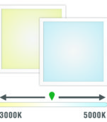 Graphics of a beige and light blue panel showing the color-change spectrum