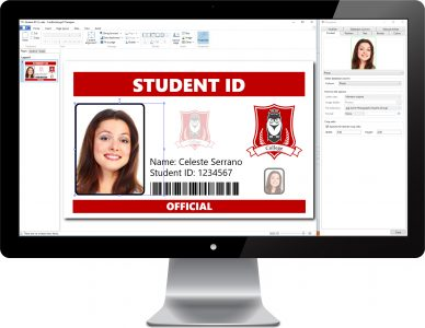 Screenshot of student ID: card creation software