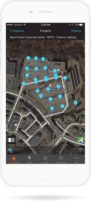Screenshot of property management software
