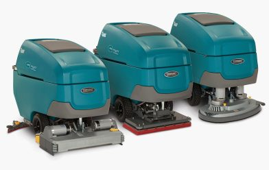 3 gray-blue walk-behind scrubbers