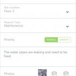 Maintenance app service request screenshot