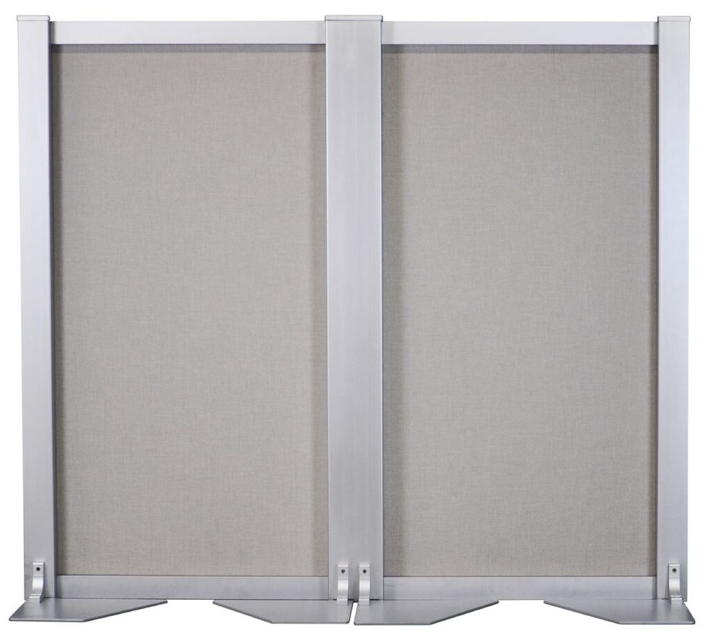 A steel-core space divider with 2 panels that doubles as a ballistic barrier
