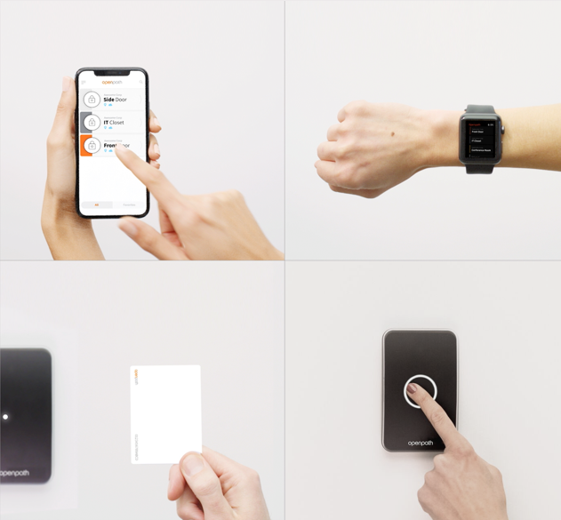 4-frame image showing phone, watch, touch or card options