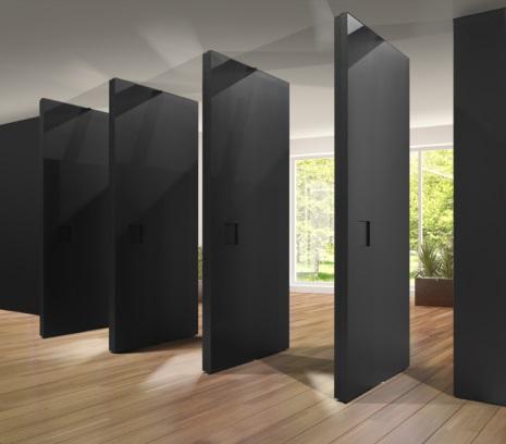 4 black parallel wall-to-ceiling open door