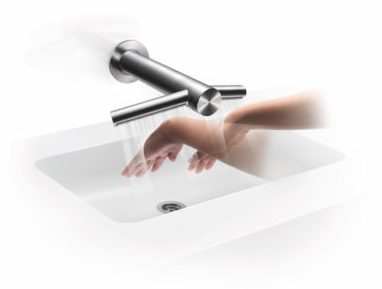 Sink with combo faucet/hand dryer to either side
