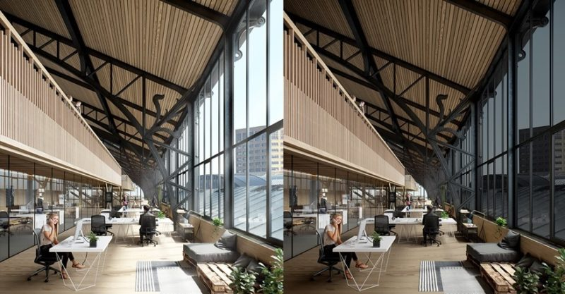 Historic train station before and after glass tinting