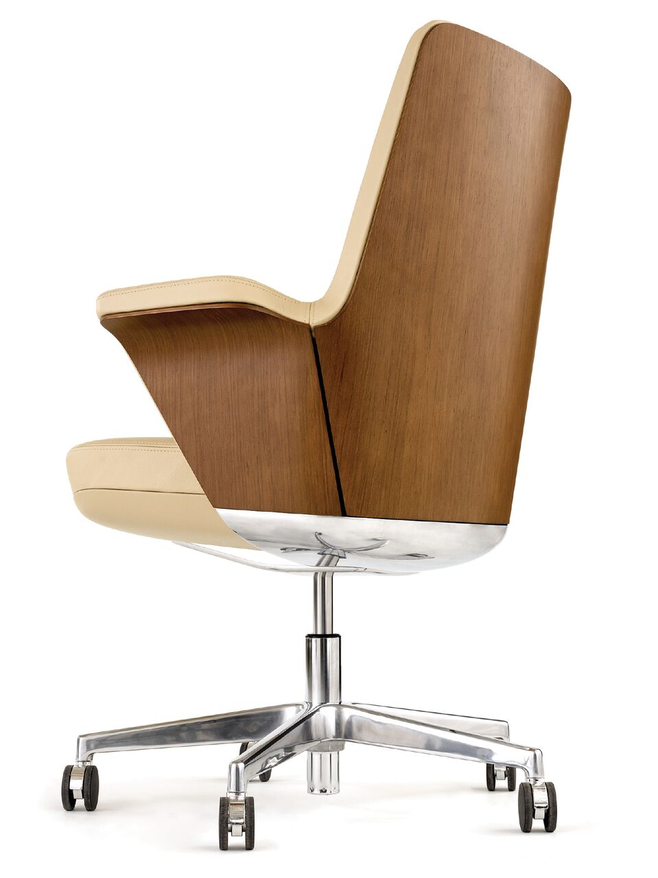 Wood veneer-backed boardroom chair