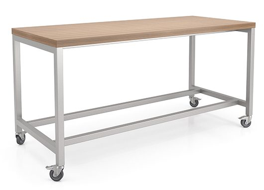 Rectangular table with laminate finish and casters