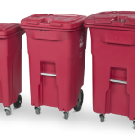 Red medical waste carts in 3 sizes