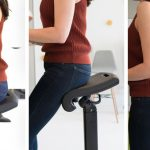Adjustable backless office chair shown in 3 panels