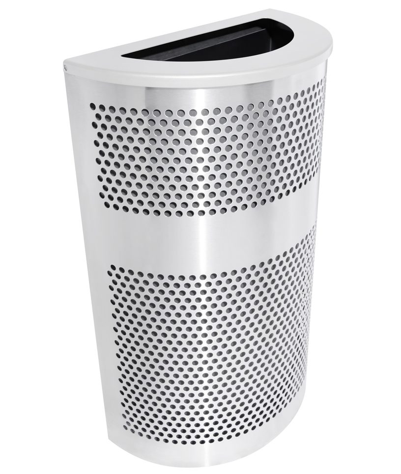 Semi-circular stainless steel trash can