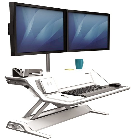 White sit-stand desktop workstation with dual monitors